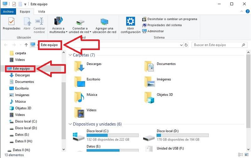 abrir explorador de archivos en este equipo