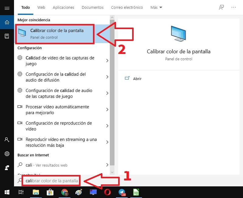 cambiar contraste pantalla windows 10