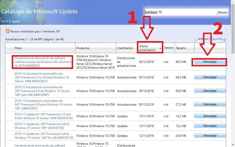 descargar actualizaciones de windows manualmente
