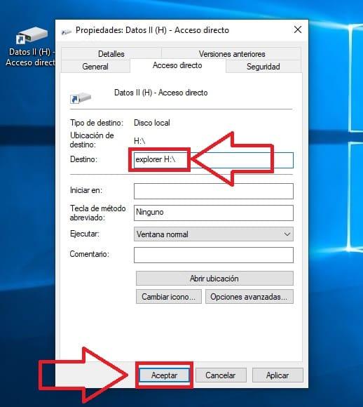poner un acceso directo a un disco duro en la barra de tareas.