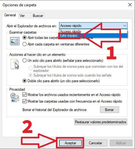 no entrar en el explorador de archivos desde acceso rápido.