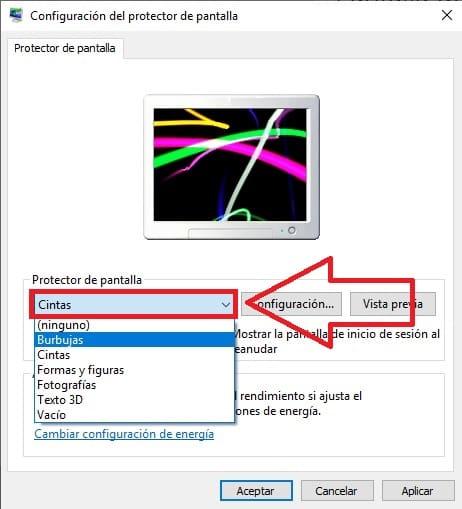 desactivar salvapantallas windows 10