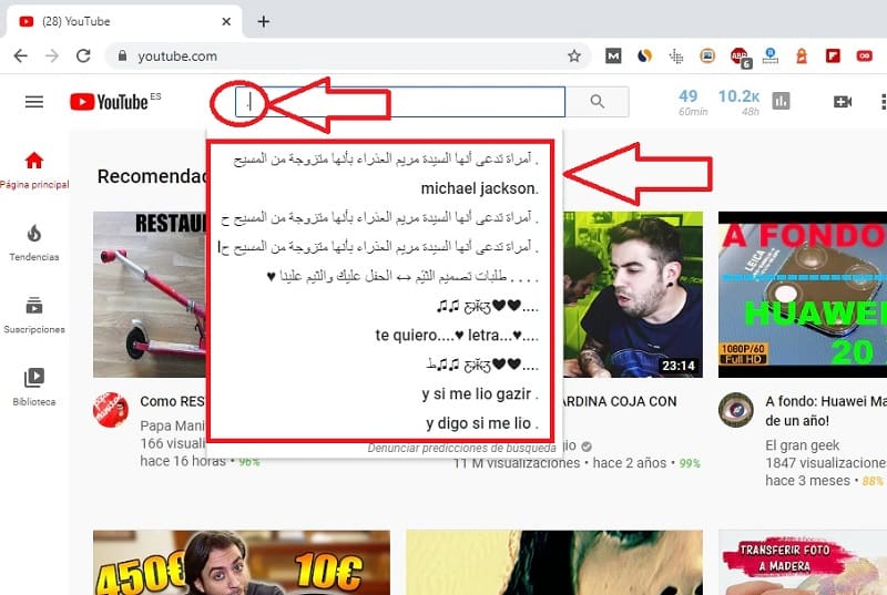nunca añadas un punto en buscador de youtube.