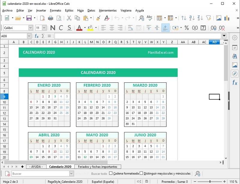 plantilla de excel calendario