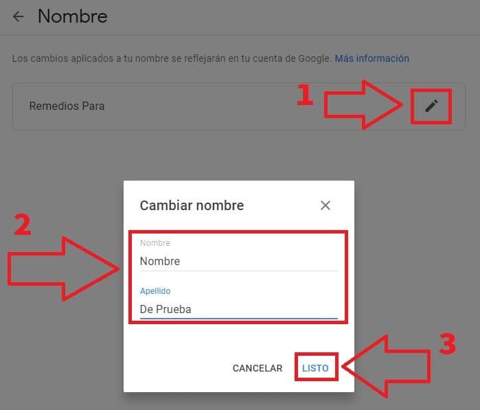 se puede cambiar el nombre de una cuenta de correo gmail