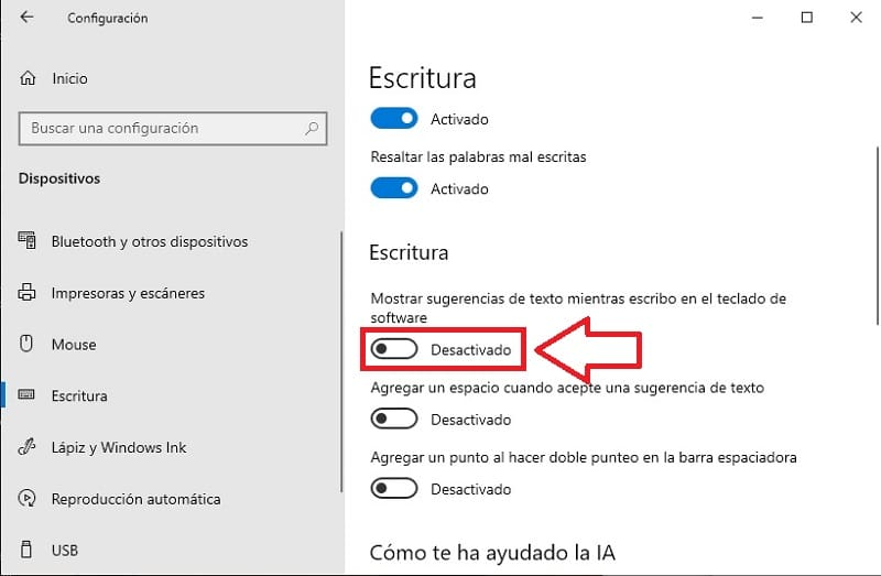 desactivar sugerencias de escritura en windows10