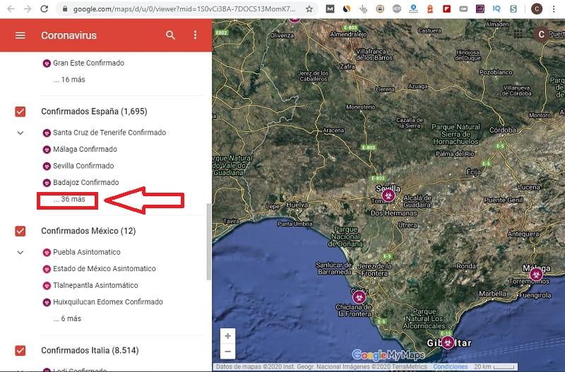 mapa coronavirus google maps