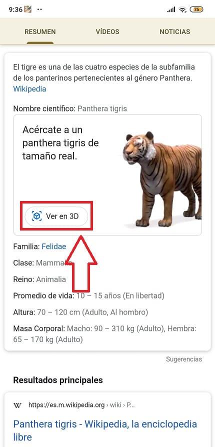 como ver animales en 3d google