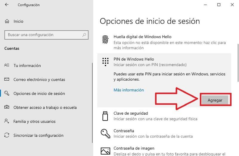 desactivar pin windows hello