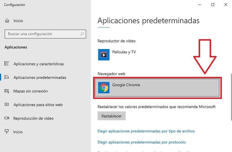 elegir otro navegador web de windows 10.
