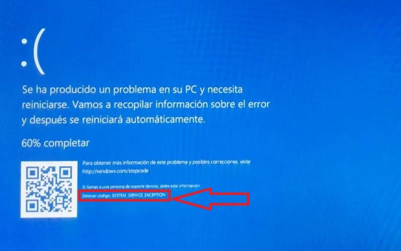 error windows 10 system service exception