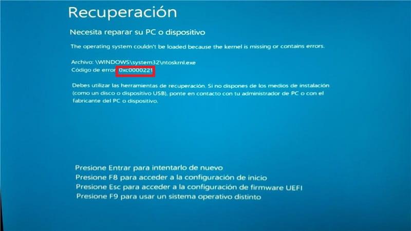 reparar error 0xc0000221.