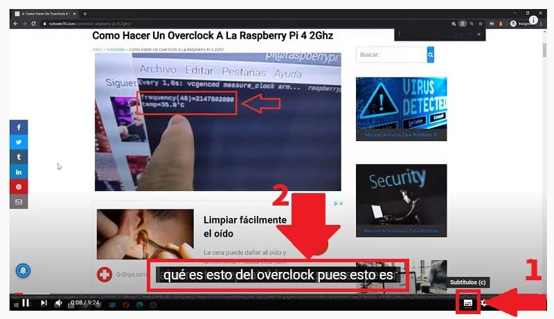 activar subtitulos youtube.
