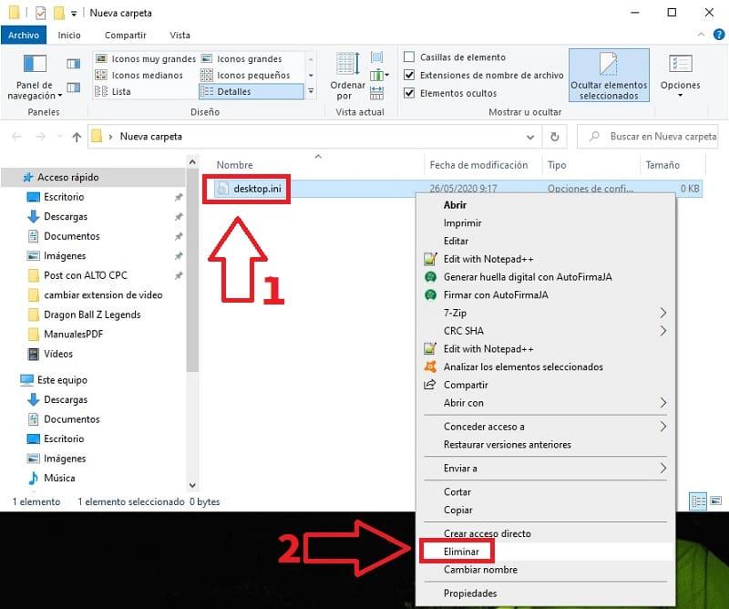 que es el archivo desktop.ini windows 10