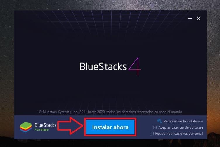 descargar bluestacks con 1gb de ram