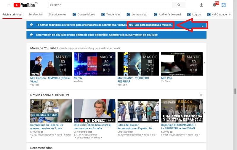youtube mobile pc problemas.