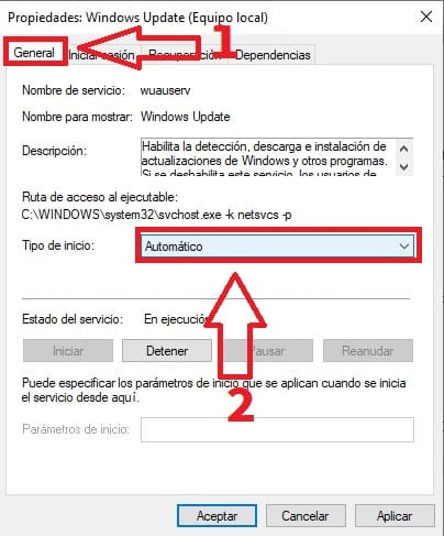 propiedades windows update.