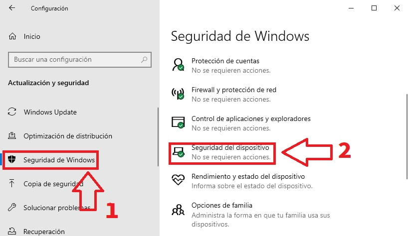 integridad de memoria windows 10