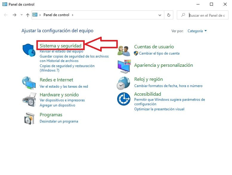 sistema y seguridad de windows 10.