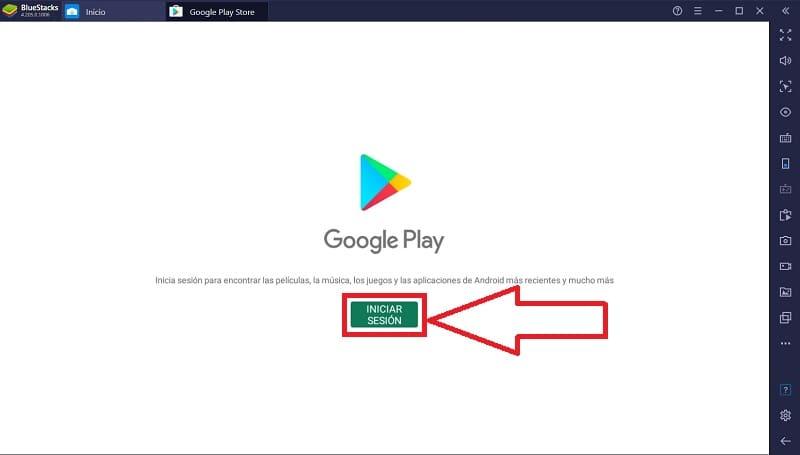 iniciar sesión en Play Store.