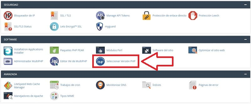 actualizar php cpanel