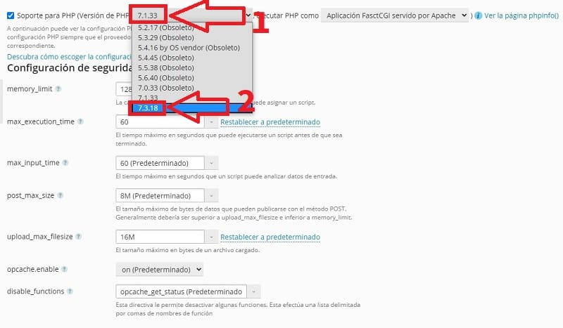 actualizar php plesk