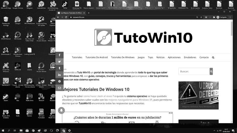windows 10 blanco y negro solucion
