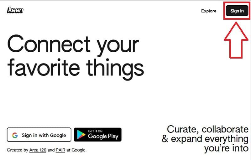 crear una cuenta de Keen en google.