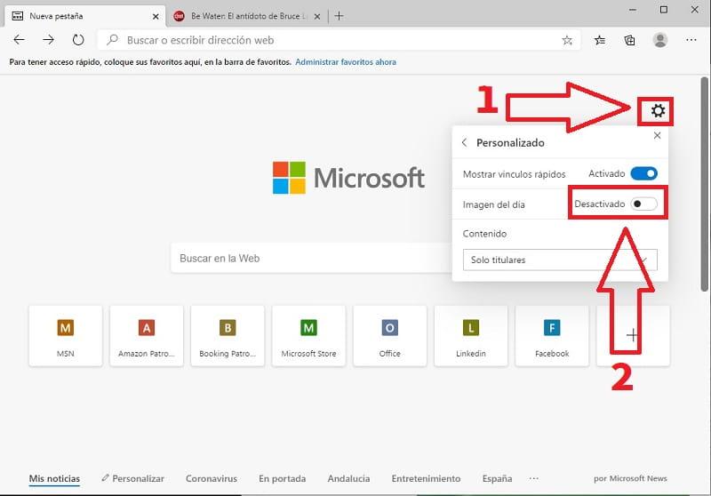 opciones de navegador edge.