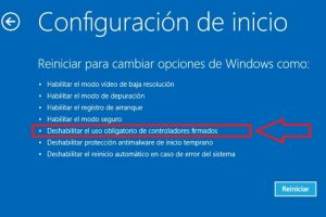 instalar driver no firmados en windows 10