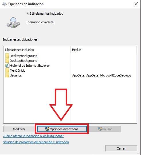 ocultar ciertos archivos de la búsqueda de windows 10.