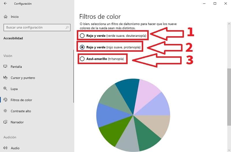 filtro daltónico windows.