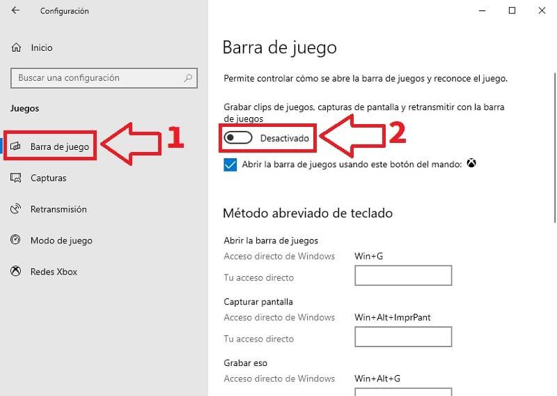 desactivar barra de juegos windows 10