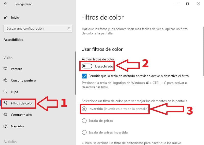cambiar colores invertidos windows 10