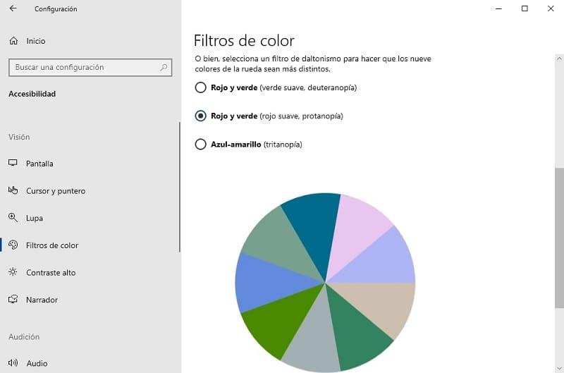 modo daltonico windows 10