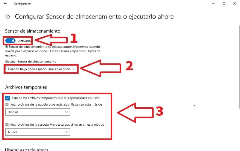 activar sensor de almacenamiento windows 10