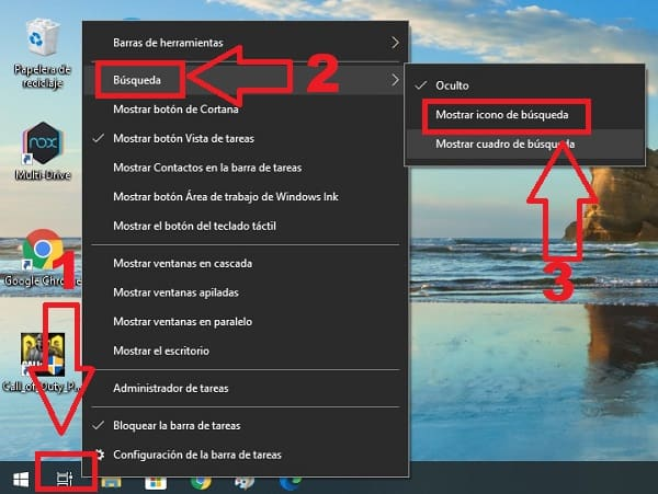 como abrir barra de busqueda windows 10