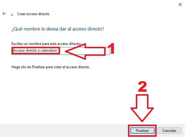 nombrando el acceso directo.