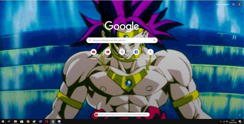 un gif animado en Google chrome.
