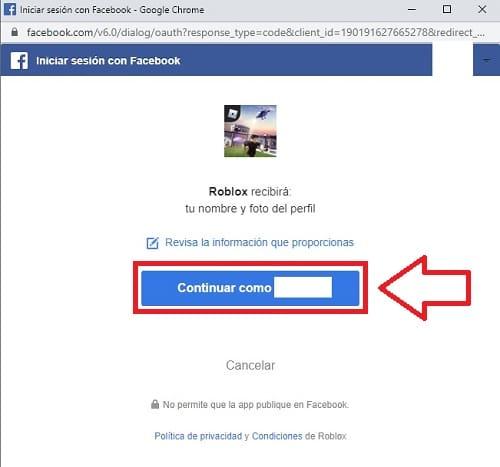 continuar en facebook.