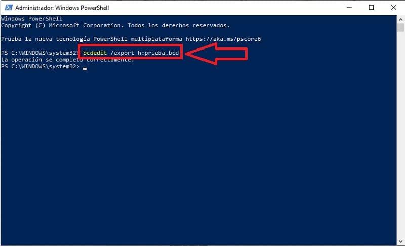 bcedit /export d:\copiaseguridad.bcd