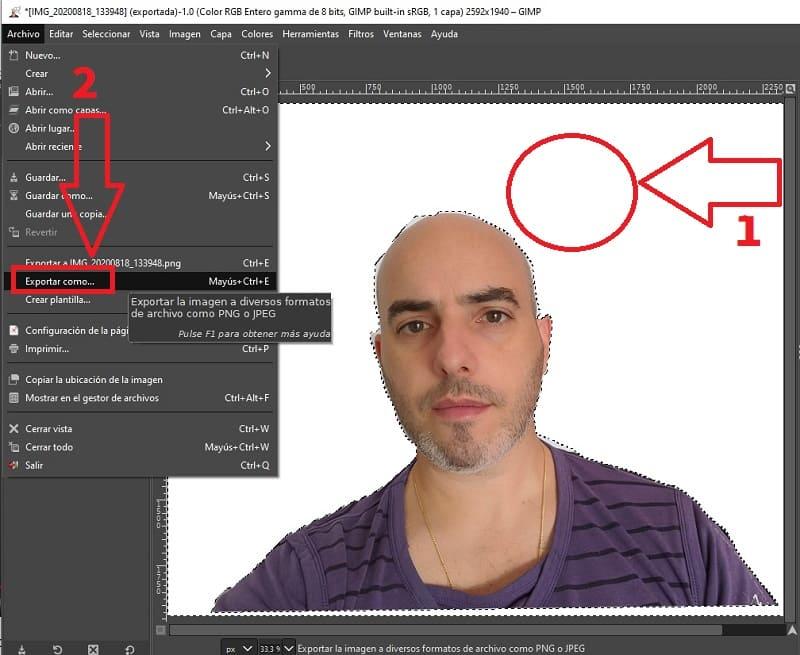 poner blanco el fondo de una imagen con gimp.