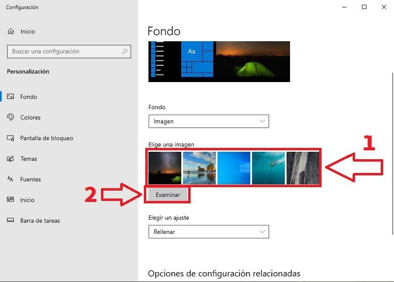 elegir una foto de fondo de pantalla.