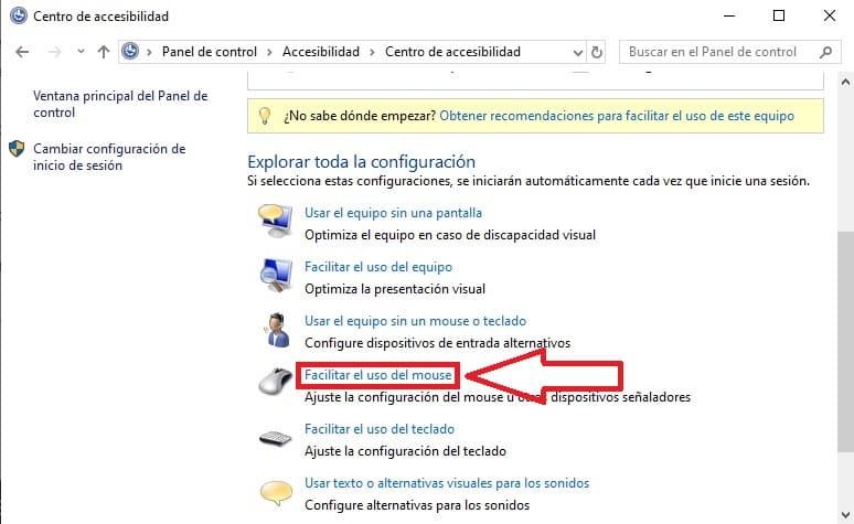 facilitar el uso del ratón en windows 10.