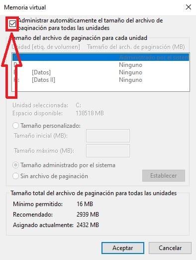 error windows creo un archivo de paginacion temporal