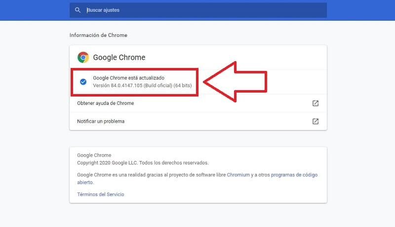 como saber que versión de google chrome tengo instalada.
