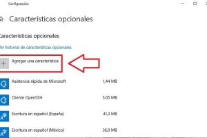 añadir características opcionales windows 10.