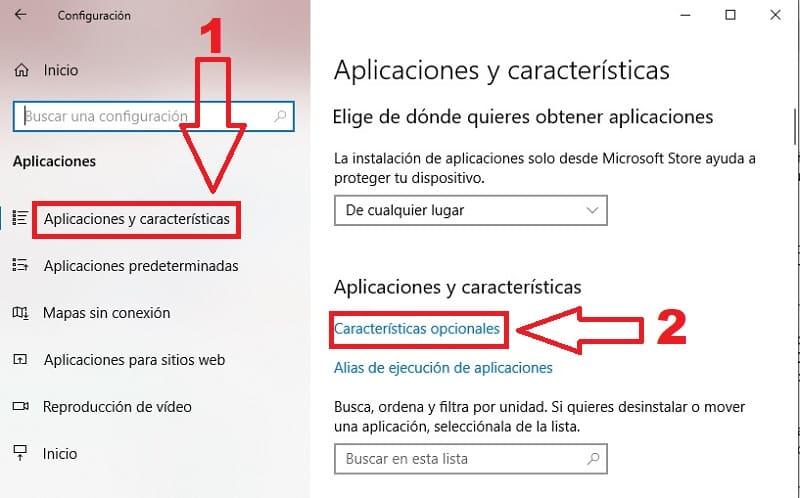 caracteristicas opcionales windows 10