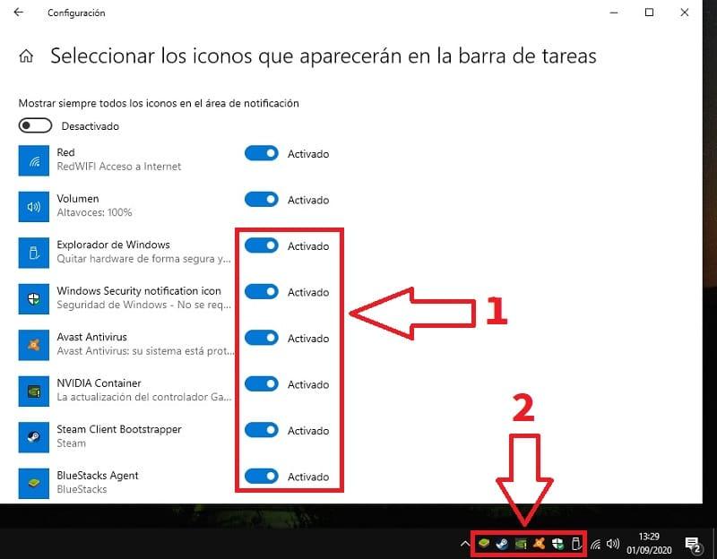 esconder iconos barra tareas windows 10