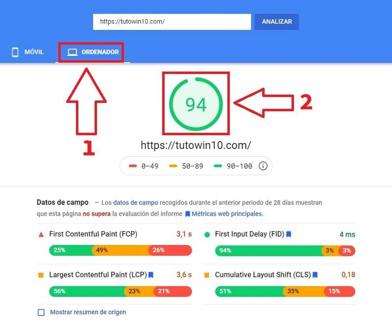 medir la velocidad de mi pagina web